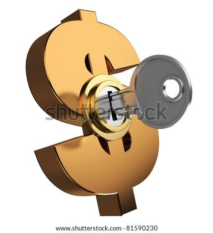 3d illustration of key locked dollar symbol - stock photo