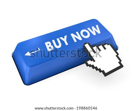 3D illustration of keyboard with  shopping button - stock photo
