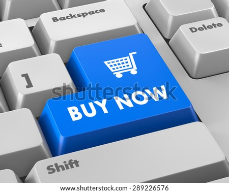 3D illustration of keyboard with  shopping button