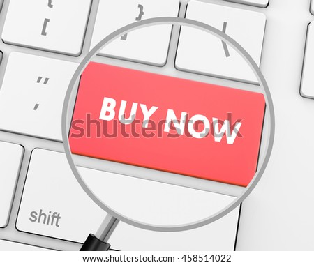 3D illustration of keyboard with  shopping button, 3d rendering