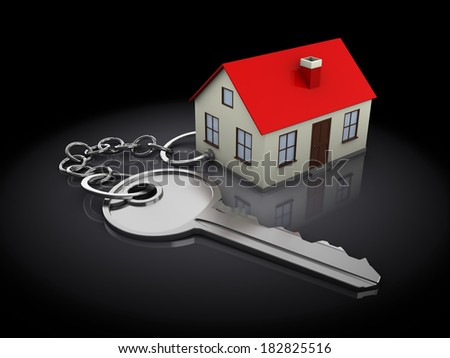 3d illustration of keychain with house model, over black background - stock photo
