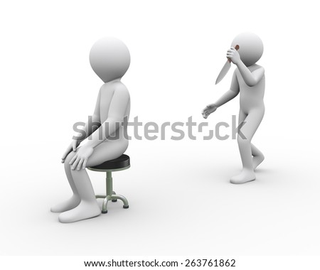 3d illustration of killer man with knife attacking another sitting person.  3d rendering of human people character - stock photo