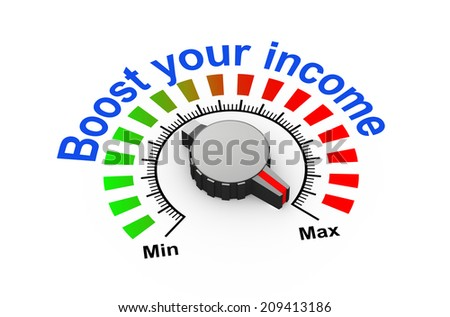 3d illustration of knob set at maximum for boost your revenue - stock photo