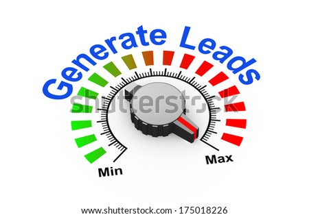 3d illustration of knob set at maximum for generate leads - stock photo