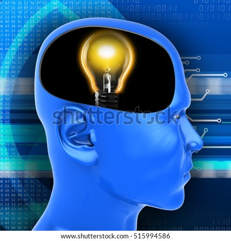 3d illustration of lamp inside head over digital background