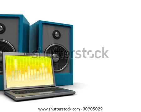 3d illustration of laptop and audio speakers over white background
