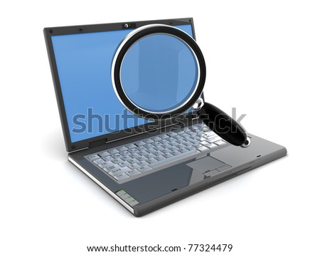 3d illustration of laptop computer and magnify glass