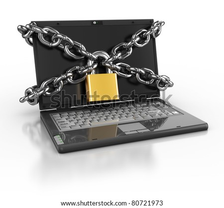 3d illustration of laptop computer locked with chains and padlock - stock photo