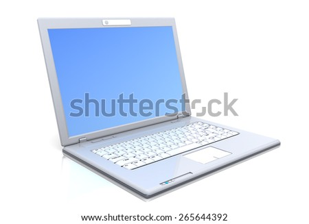 3d illustration of laptop computer over white background - stock photo