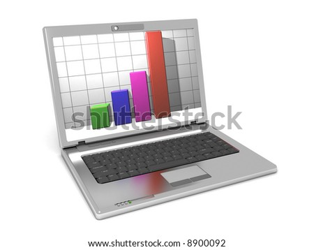 3d illustration of laptop computer with bars on screen