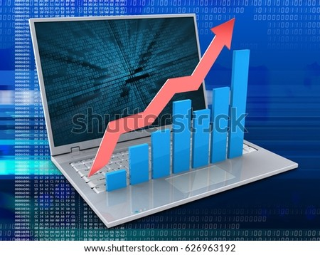 3d illustration of laptop over digital background with binary data screen and rising charts