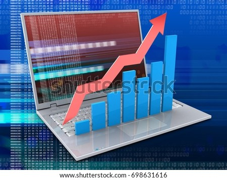 3d illustration of laptop over digital background with red digital screen and rising charts