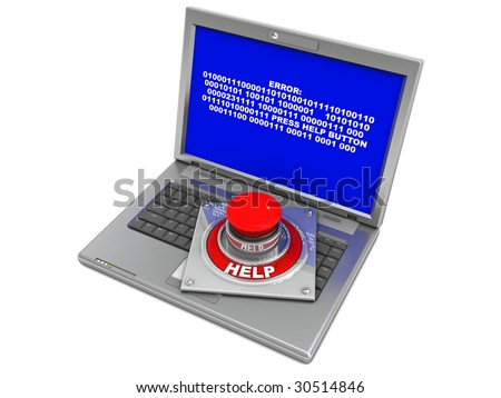 3d illustration of laptop with blue screen error and help button - stock photo