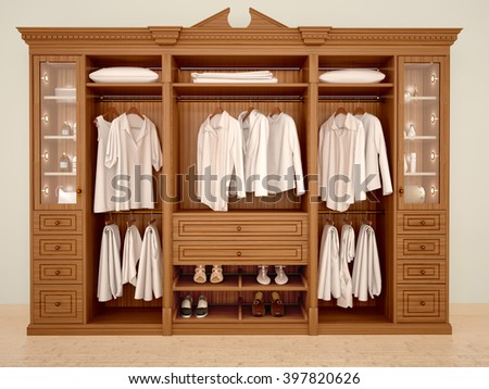 3d illustration of ��lassic wood wardrobe wardrobe with clothes and accessories