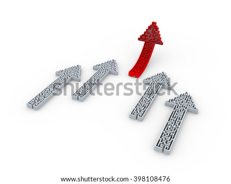 3d illustration of leader arrow shape labyrinth puzzle maze moving upward. Concept of leadership. - stock photo