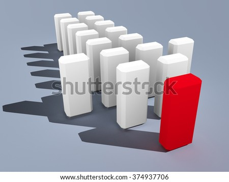 3d illustration of leader leads small team forward - stock photo