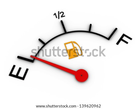 3d illustration of level gauge indicates ran out of petrol - stock photo