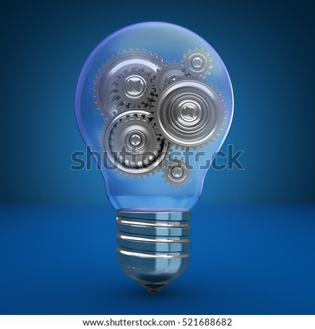 3d illustration of light bulb with gear wheels inside, over blue background