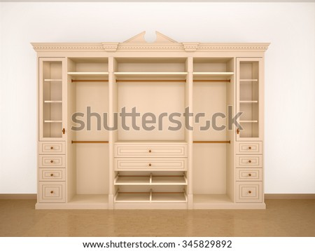 3d illustration of light classic cupboard wardrobe - stock photo