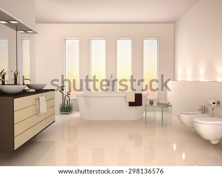 3D illustration of lightweight minimalist interior of a modern b - stock photo