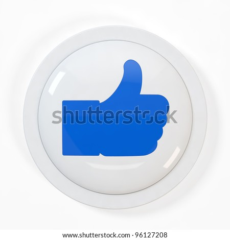 "3d illustration of ""Like"" button isolated on white background - stock photo"