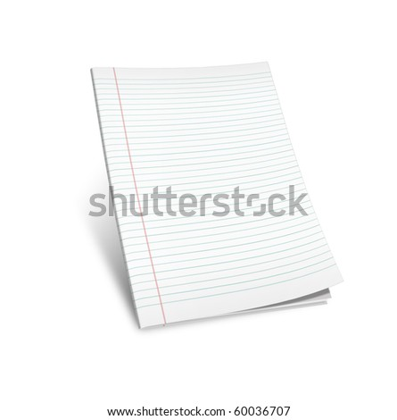 3d illustration of lined notebook on a white background on a white background