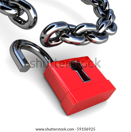 3d illustration of lock and chain over white background