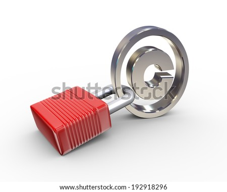 3d illustration of locked padlock and copyright symbol - stock photo