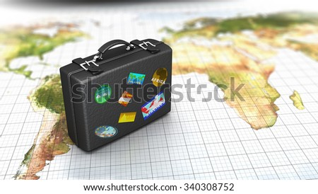 3d illustration of luggage on map, travel concept - stock photo