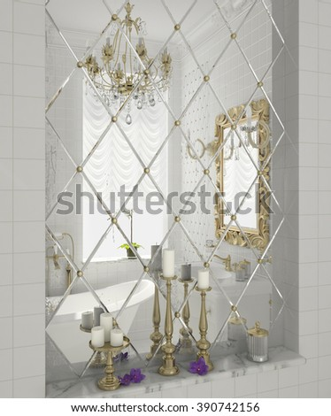 3D illustration of luxury bathroom in white color with sanitary  in classic style and light gold reflected in mirror tile pattern - stock photo