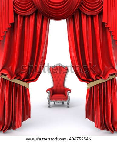 3D illustration of luxury sofa on white background with red curtains