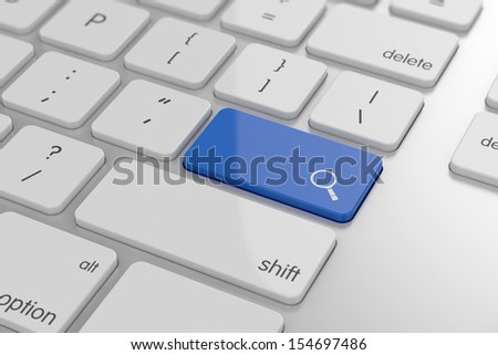 3d illustration of magnifier glass sign button on keyboard with soft focus
