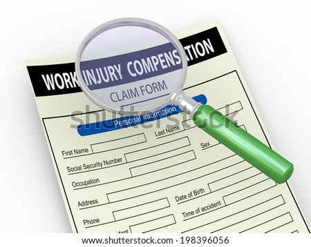 3d illustration of magnifier hover over work injury compensation claim form - stock photo
