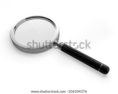 3D illustration of magnifying glass on white background