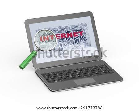 3d illustration of magnifying glass searching internet wordcloud word tags showing on laptop screen - stock photo