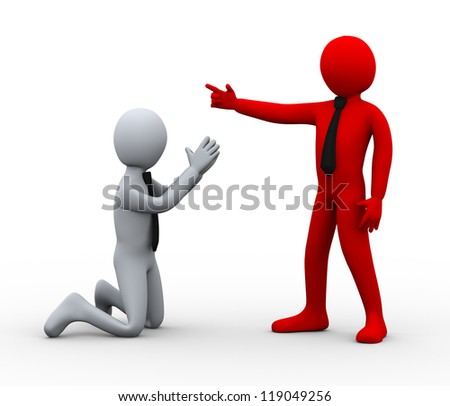 3d Illustration of man begging for work. 3d rendering of human character businessman. - stock photo