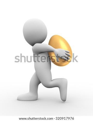 3d illustration of man carrying large shiny golden egg on his back.  3d rendering of human people character - stock photo