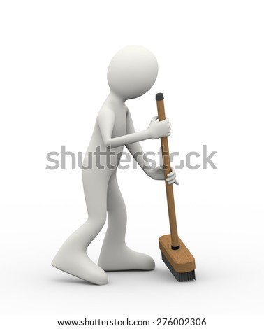 3d illustration of man cleaning with broomstick deck brush. 3d human person character and white people