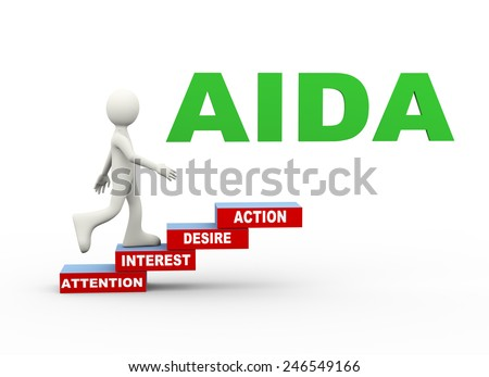 3d illustration of man climbing aida (attention, interest, desire, action) word text steps concept. 3d human person character and white people