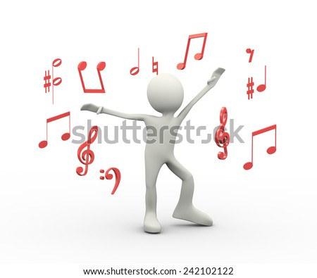 3d illustration of man dancing and singing between music note symbols. 3d human person character and white people - stock photo