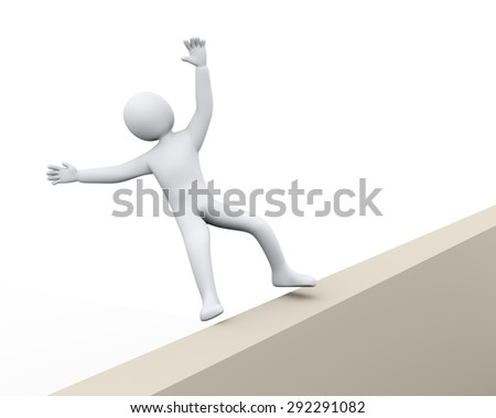 3d illustration of man falling from wall.  3d rendering of human people character - stock photo