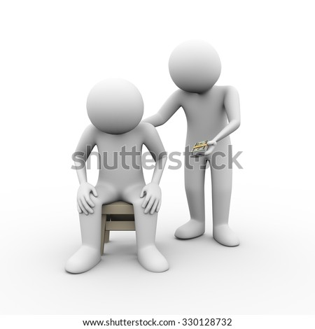 3d illustration of man giving money to his friend. Concept of sympathy comforting friendship moral financial help support - stock photo