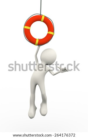 3d illustration of man hanging on life preserver lifebuoy ring. 3d human person character and white people - stock photo
