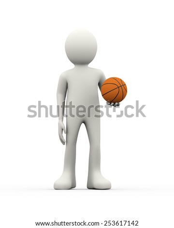 3d illustration of man holding an orange basketball ball. 3d human person character and white people - stock photo