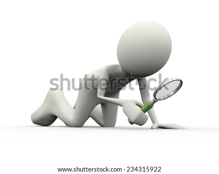 3d illustration of man holding and searching with magnifying glass. 3d human person character and white people - stock photo