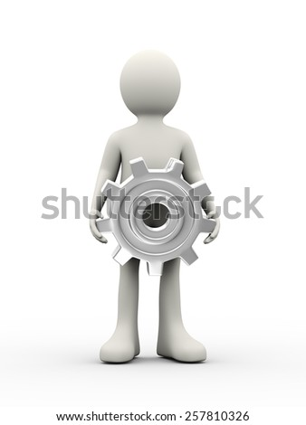 3d illustration of man holding chrome metallic gear cog wheel. 3d human person character and white people - stock photo