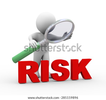 3d illustration of man holding magnifying glass looking at word text risk.  3d rendering of human people character - stock photo