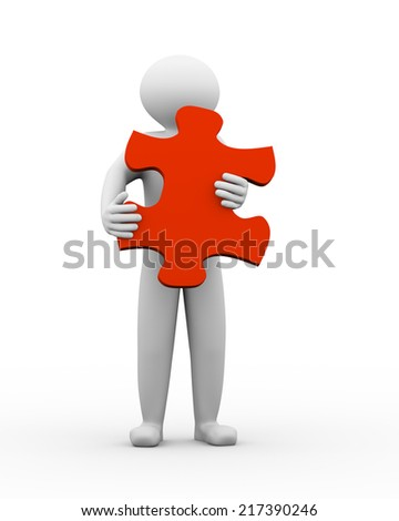 3d illustration of man holding red big puzzle piece. 3d human person character and white people