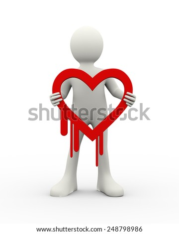 3d illustration of man holding security breach heartbleed symbol icone. 3d human person character and white people