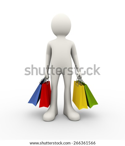 3d illustration of man holding various sale shopping bags. 3d human person character and white people - stock photo